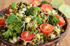 Sprouts chaat with brocolli and cherry tomatoes Stock Photo