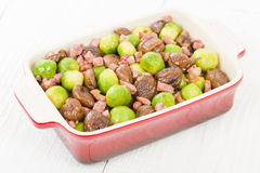Sprouts, Chestnuts & Bacon Royalty Free Stock Photography
