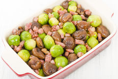 Sprouts, Chestnuts & Bacon Royalty Free Stock Photos