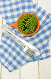 Sprouts of cress in an orange cup, fork and knife Stock Photos