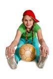 Sprtswoman con la bola Imagen de archivo