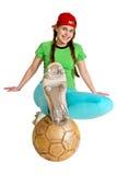 Sprtswoman con la bola Fotos de archivo