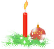 Spruce branch, balloon and candle Stock Image