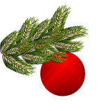 Spruce branch and Christmas tree toy. Red holiday ball. FIR gree. N branch. Green lush spruce Royalty Free Stock Photos