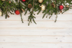 Spruce branch with decoration Royalty Free Stock Photos