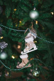 On spruce branch hanging Christmas toys in the form of skates Stock Photos