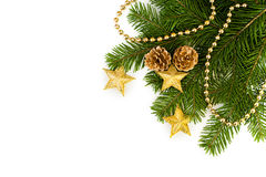 Spruce branch with ornaments Stock Photography