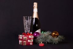 New Year`s gift under the tree royalty free stock image