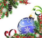 Spruce branches and blue Christmas ball Royalty Free Stock Photo