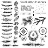 Spruce branches brushes,Pine cones,bow silhouette Royalty Free Stock Photo