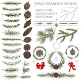 Spruce branches brushes set with Pine cones and Stock Photo