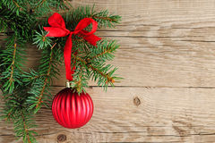 Spruce branches with christmas ball Stock Photo