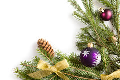 Spruce branches with Christmas decorations. Royalty Free Stock Photos