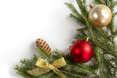 Spruce branches with Christmas decorations. Stock Photos