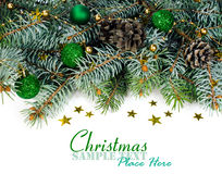 Spruce branches with Christmas decorations Royalty Free Stock Photos