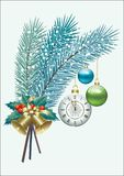 Happy New Year. Christmas decorations. Spruce branches with a clock, balls and bells royalty free illustration