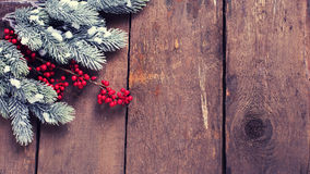 Spruce branches, decorative berries on aged wooden  background. Royalty Free Stock Photos