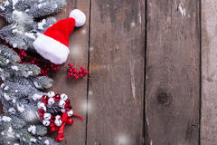 Spruce branches, decorative berries, christmas decorations  on a Stock Photo