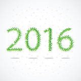 Spruce branches in the form of numbers 2016. Vector illustration on snowy background Royalty Free Stock Images