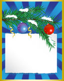 Spruce branches with toys and paper Royalty Free Stock Photo