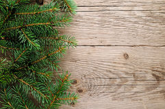 Spruce branches on wood Royalty Free Stock Photos