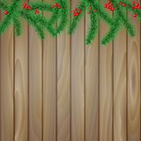 Spruce branches on a wooden background Stock Photography