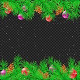 Spruce Christmas transparent background. Green spruce and Christmas decoration snow night transparent background. Falling snowflakes fir tree parts toys pine Royalty Free Stock Photo