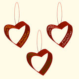 Spruce decorations of hearts ribbons Christmas and New Year inscriptions. Vector illustration Stock Photo