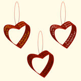Spruce decorations of hearts ribbons Christmas and New Year labels and declarations of love. Vector illustration. Vector illustration of spruce decorations of Stock Photography