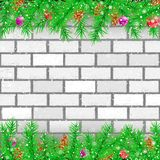 Spruce branch white brick wall royalty free illustration
