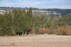 Spruce forest field cabin royalty free stock photography