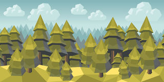 Spruce forest seamless background. Polygonal summer forest, horizontal seamless pattern Royalty Free Stock Photo