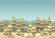 Spruce forest seamless background, winter, snow. Polygonal winter forest, horizontal seamless pattern Stock Photo