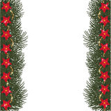 Spruce frame with flowers of poinsettia, beads and glitter Stock Images
