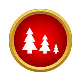 Spruce grove icon, simple style. Spruce grove icon in simple style in red circle. Nature symbol Royalty Free Stock Photography
