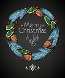 Spruce and holly christmas wreath Stock Images