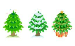 Spruce i sommaren och vintern och julen Arkivfoto