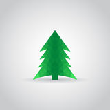 Spruce icon in polygonal style with shadow on a gray background. Vector illustration eps10 Stock Image
