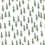 Spruce pattern. Fir trees cartoon, green watercolor sketches Royalty Free Stock Image