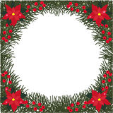 Spruce round frame with flowers of poinsettia, berries and glitter Royalty Free Stock Photo
