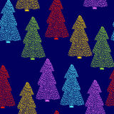 Spruce seamless pattern. Vector seamless pattern with hand drawn colorful spruce trees. Beautiful floral Christmas design elements, doodle style, minimalistic Royalty Free Stock Photos