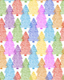 Spruce seamless pattern. Vector seamless pattern with hand drawn cute colorful spruce trees. Beautiful design elements, perfect for prints and patterns Stock Photo