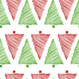 Spruce seamless pattern. Vector seamless pattern with hand drawn spruce trees. Beautiful floral Christmas design elements, doodle style, minimalistic design Royalty Free Stock Image