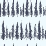Spruce seamless pattern. Vector seamless pattern with hand drawn spruce trees. Beautiful floral design elements, perfect for Christmas prints and patterns Royalty Free Stock Photo