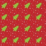 Seamless Christmas pattern with green Christmas trees and snowflakes on a red abstract background. Vector illustration. Spruce and snow pattern tiled red white Royalty Free Stock Photos