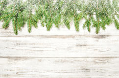 Spruce sprigs with snow on bright wooden texture. Christmas Stock Image