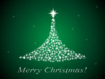 Spruce and stars. Stylized Christmas tree from the twinkling stars on a green background Stock Images