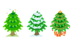 Spruce in the summer and winter and christmas. Illustration of spruce tree in the summer, snowy winter and christmas Stock Photo