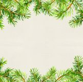 Spruce tree branches border. Christmas card. Watercolor. Spruce tree branches border. Christmas card, empty blank. Watercolor Stock Photography