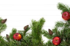 Spruce tree branches frame, evergreen garland Stock Photo